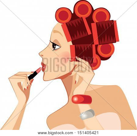 beauty face girl in profile with hair curlers rollers, face woman, rouge, lipstick, makeup