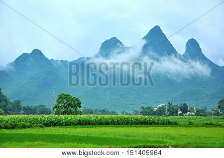 The beautiful karst mountains and rural scenery, Guilin, China.