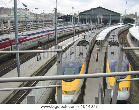 French Tgv Trains On The Railroad Station Of Gare De Lyon, Paris, France