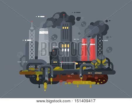 Mills and factories polluting environment. Smoke and waste pipes. Vector illustration