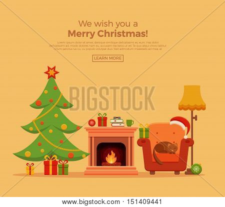 Christmas fireplace room interior in colorful cartoon flat style. Christmas tree, gifts, decoration, armchair, fireplace, santa heat. Cozy noel xmas night celebration interior vector illustration.