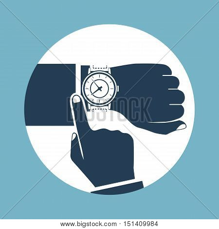 Wristwatch on hand of businessman black icon isolated on background. Man checks time on wrist watch control. Flat design vector illustration.