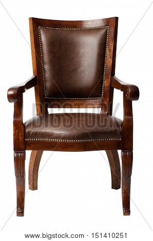 Luxurious brown vintage wooden armchair upholstered in leather isolated on white background