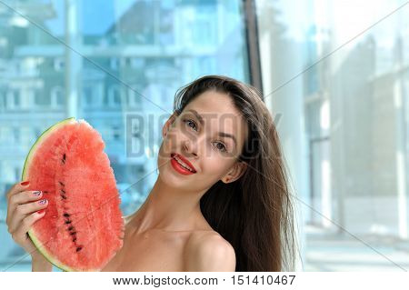 Beautiful Girl Holding A Slice Of Watermelon
