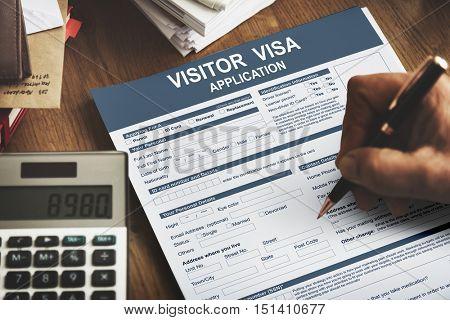 Visitor Visa Application Immigration Concept