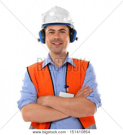 Construction worker, isolated on white