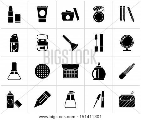 Black Make-up and cosmetics icons  - vector icon set