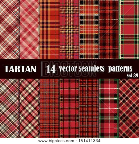 Set tartan seamless pattern in red colors. Lumberjack flannel shirt inspired. Seamless tartan tiles. Trendy hipster style backgrounds. Suitable for decorative paper fashion design home and handmade crafts.