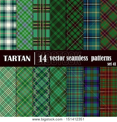 Set tartan seamless pattern in green colors. Lumberjack flannel shirt inspired. Seamless tartan tiles. Trendy hipster style backgrounds. Suitable for decorative paper fashion design home and handmade crafts.