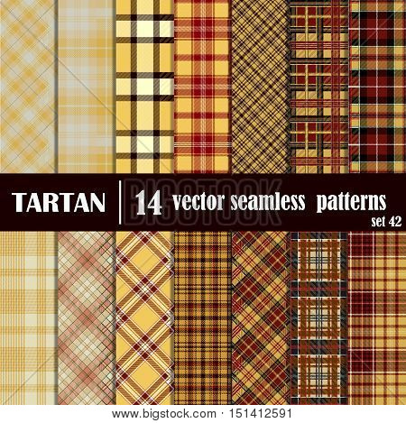 Set tartan seamless pattern in yellow colors. Lumberjack flannel shirt inspired. Seamless tartan tiles. Trendy hipster style backgrounds. Suitable for decorative paper fashion design home and handmade crafts.