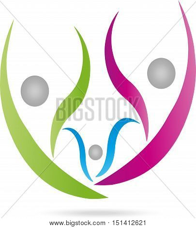 Three people in color, family or team logo