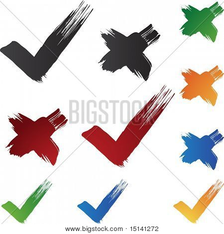 Check mark Brushstrokes isolated on a white background.