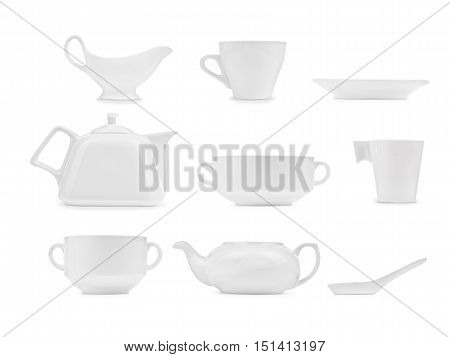 collection of white kitchen ware isolated on white background