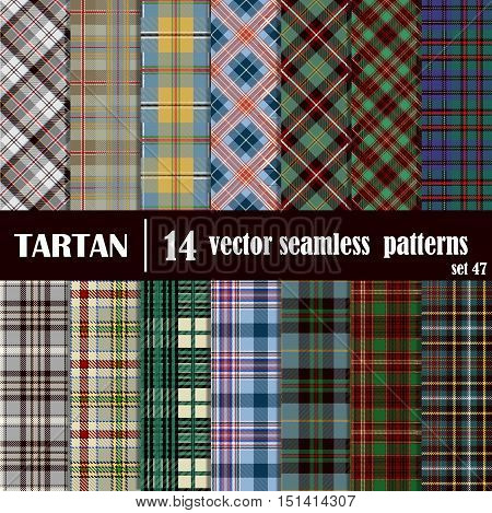 Set tartan seamless pattern in motley colors. Lumberjack flannel shirt inspired. Seamless tartan tiles. Suitable for decorative paper fashion design home and handmade crafts