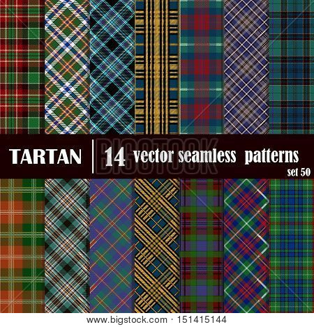 Set tartan seamless pattern in motley colors. Lumberjack flannel shirt inspired. Seamless tartan tiles. Suitable for decorative paper fashion design home and handmade craftss