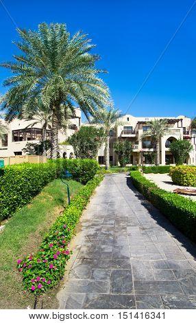 FUJAIRAH, UAE - November 16: Low-rise Arabian  style architecture of 5 stars Iberotel Miramar Al Aqah Beach Resort (321 rooms) located on Indian Ocean shores, Fujairah, UAE, on November 16   2012