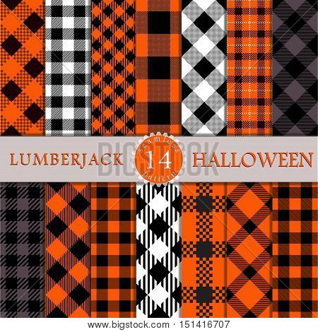 Fourteen Halloween Seamless Pattern Lumberjack Plaid Textures. Perfect for Halloween projects. Trendy Lumberjack Flannel Shirt Inspired Hipster Style Backgrounds.