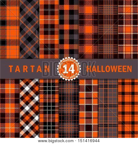 Fourteen Halloween Tartan Plaid Seamless Pattern Textures. Perfect for Halloween projects. Trendy Flannel Shirt Tartan Style Backgrounds. Color in Orange Dark Grey Black and White