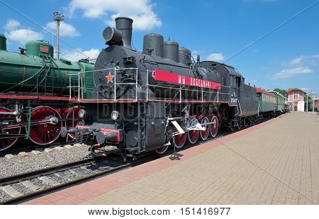 MOSCOW, RUSSIA - JUNE 23, 2016: Museum of Railway Transport of the Moscow railway Freight locomotive EM 740-57 (