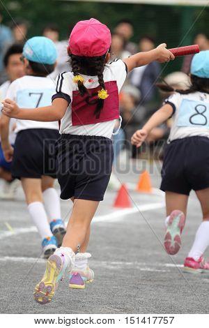 Sports festival at Japanese kindergarten in Yokohama