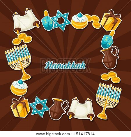 Jewish Hanukkah celebration frame with holiday sticker objects.