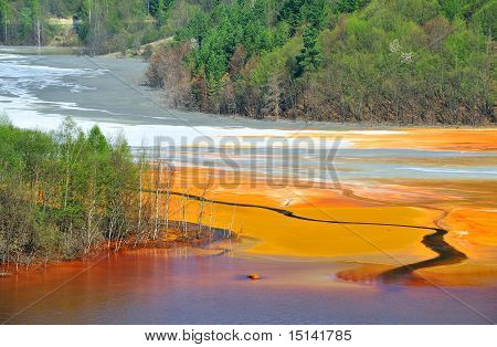 Water pollution of a copper mine exploitation