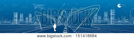 Two cargo ships loading, boats on the water, sea harbor, airplane fly, transportation illustration, vector design art