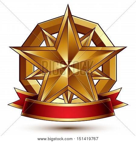 Complicated vector golden design element with polygonal decorative star and red curvy ribbon. 3d luxury medallion isolated on white background.