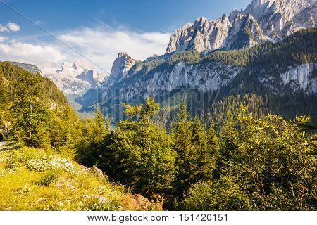 Great view of  alpine area. Picturesque and gorgeous morning scene. Salzkammergut is a famous resort area located in the Gosau Valley in Upper Austria. Dachstein glacier. Beauty world.
