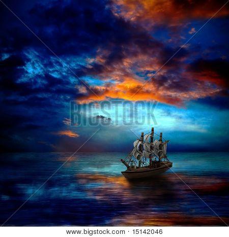 La nave en el mar oscuro