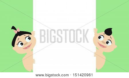 Baby boy and girl peek from the side. Look at the poster. Vector