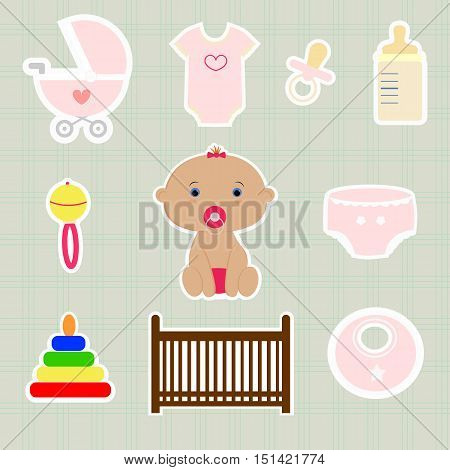a set of baby elements, cute stickers for newborn girl. template card greeting invitation. baby shower and arrival. vector illustration. girl