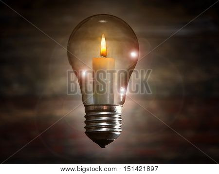 incandescent lamp hanging in the air. candle inside