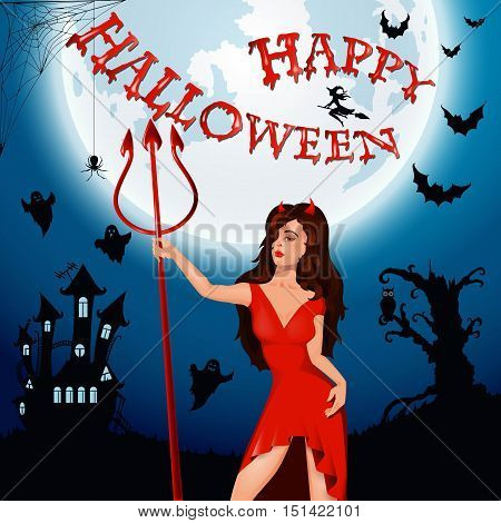 Halloween party. Witch, devil, ghost, bat, moon, and other items on Halloween theme. illustration. Happy Halloween