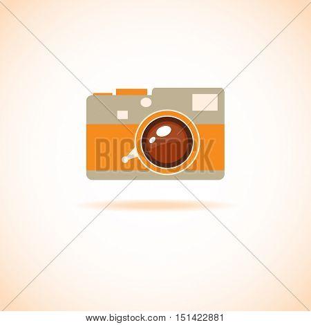 Vintage flat style photo camera icon. Leica camera logo sign. Photo camera logotype symbol