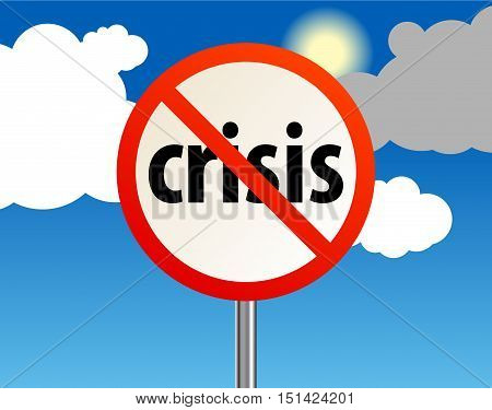End of a crisis with cloud sky, abstract vector illustration