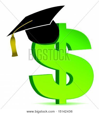 Education and dollar sign illustration design over white