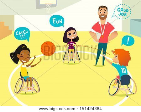 School lesson. Handicapped Kids in wheelchairs playing baseball in a gum. Coaching handicapped young sportsmen's. Medical rehabilitation. Vector Illustration.
