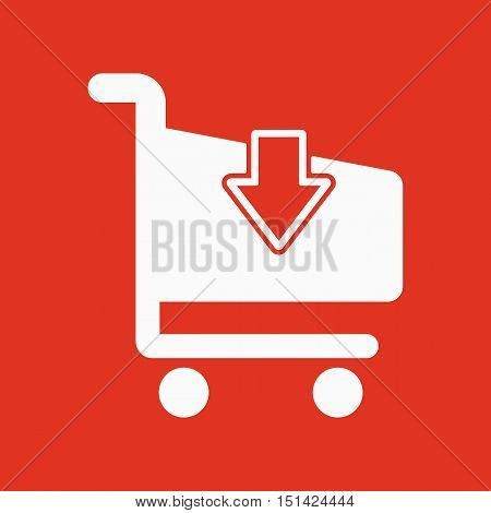 The cart shoping icon. Shop Cart symbol. Flat Vector illustration