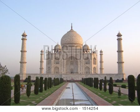 Taj Mahal Front View With The Water Cannal, Agra, India