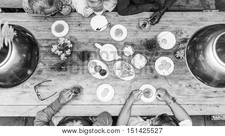 Afternoon Tea Dessert Happiness Concept