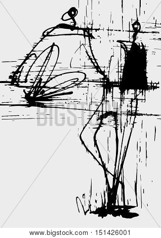 stylized vector two men, one sitting and one standing, drawing, ink, drawing, communication, communication decorative monochrome
