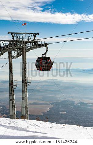 ski lift in winter mountain resort, Slovakia.
