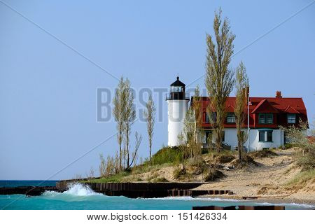 Point Betsie Lighthouse, built in 1858, Lake Michigan, MI, USA