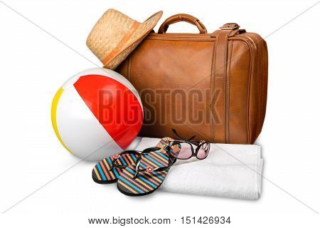 Beach Ball, Suitcase, Towel, Sun Hat and Flip-Flops