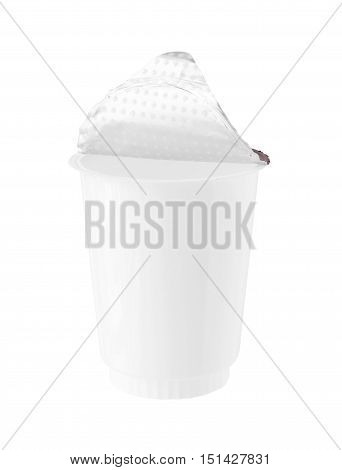 Plastic Yogurt Cup Foil Cover isolated on white background
