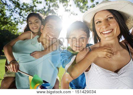 Father Daughter Piggyback Bonding Cheerful Concept