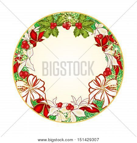 Button circular Christmas Spruce with white bows and poinsettia vector illustration