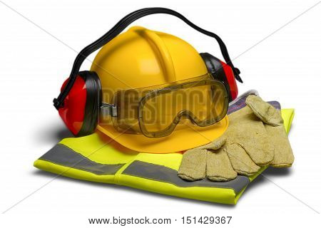 Safety Equipment - Helmet, Goggles, Ear Protection, Vest and Gloves