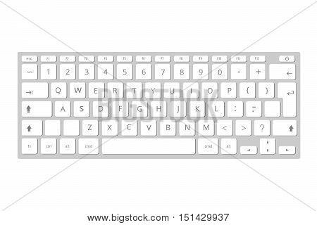 Vector white mobile computer keyboard, keypad. Template of portable keyboard illustration